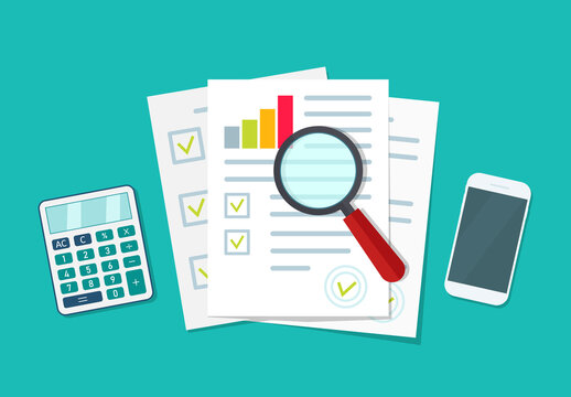 Audit icon. Financial research and report. Document with verification data and result of analyze. Auditor, accountant check on paper. Chart on sheet for seo analytics, control quality, review. Vector