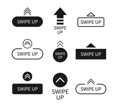 Swipe up icon. Arrows with buttons. Slide in story. Logos for scroll and drag in social media app. UI for action in internet. Black template with modern design. Outline mockup for blog. Vector