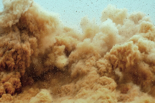 Dirt storm after detonator blast