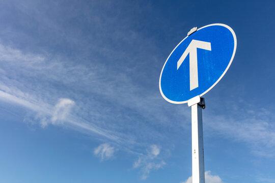 German road sign: go straight ahead