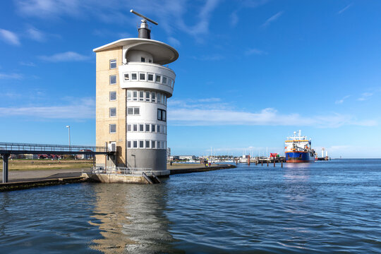 Radar tower in Cuxhaven, Germany at the river Elbe