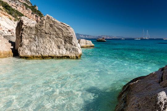 The coastline in Cala Goloritze, famous beach in the Orosei gulf (Ogliastra, Sardinia, Italy)