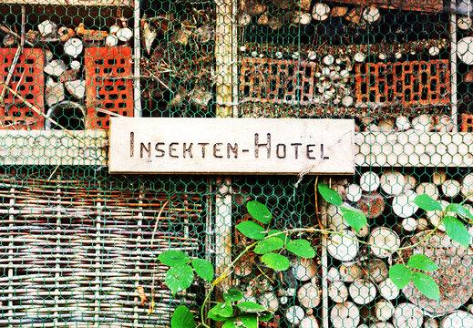 Selbstgebautes Insektenhotel mit Schild zum Schutz und zur Rettung von Insekten