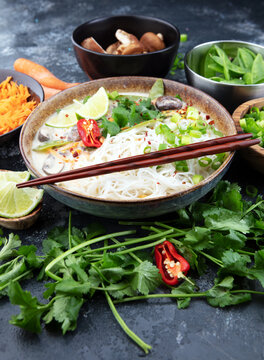 Tom Kha Gai Soup. Traditional thai asian spicy coconut milk soup. tom kha gai soup with coconut milk