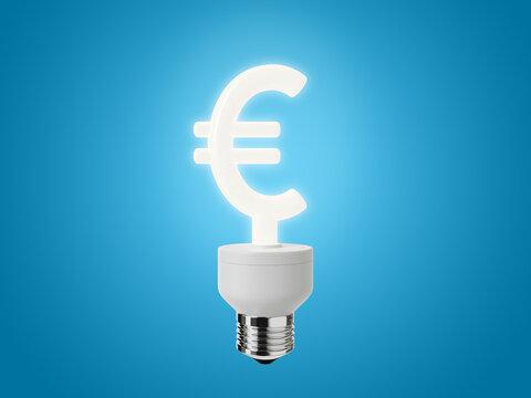 Energy Saving Light Bulb shaped as a Euro Sign