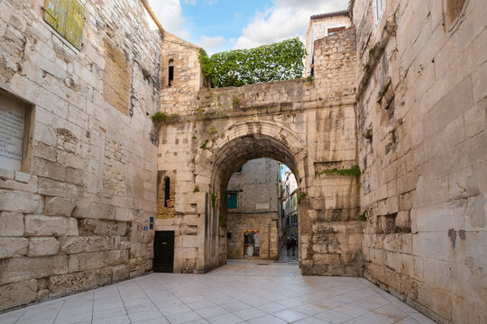 The ancient Golden Gate to the Diocletian's Palace section of Old Town Split, Croatia.