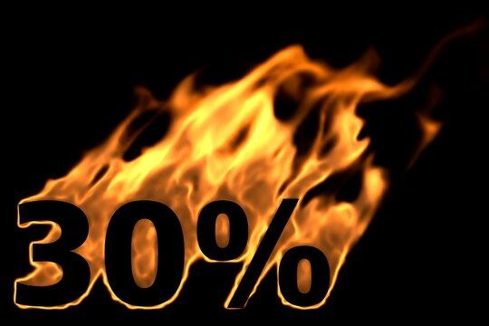 30 Prozent brennend