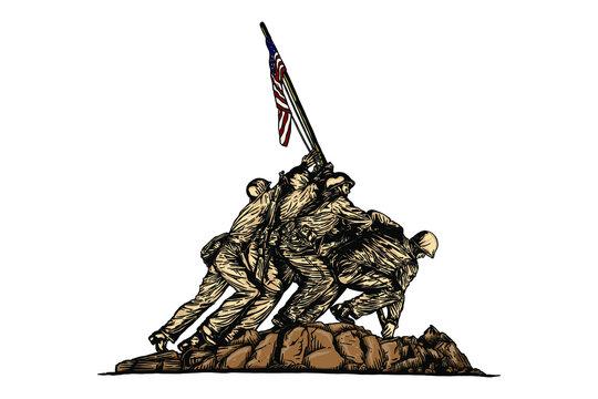 The US Marine Corps War Memorial - Hand drawn