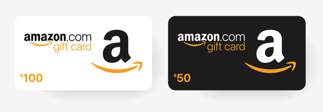 Gift card Amazon with shadow isolated on light background.