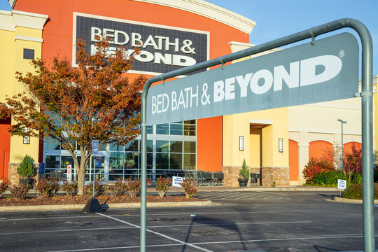General view of a Bed Bath and Beyond sign on November 15, 2020 at Bridge Street Huntsville, Alabama