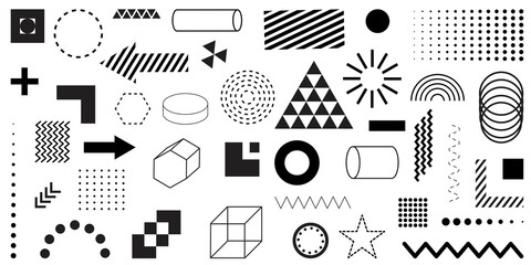 Black geometric shapes set. Graphic element vector. Pop-art texture. Space poster set. Abstract retro vector texture. Stock image. EPS 10.