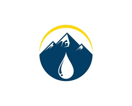 Simple mountain with water drop and yellow swoosh
