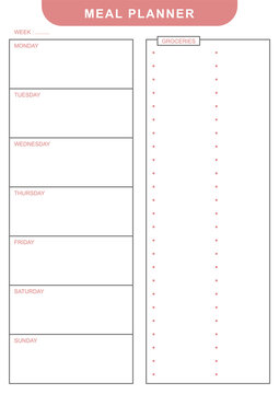 Simple white pink weekly meal planner schedule with daily table and grocery shopping list print vector template