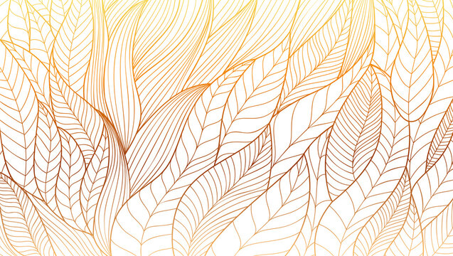 Hand drawn Eco ornament. Stylized plant leaves. Abstract vector line art. Vintage pattern from wavy lines