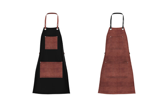Blank  leather apron mockup, clean apron, design presentation for print, 3d illustration, 3d rendering
