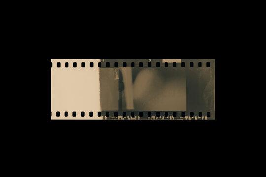 (35 mm.)Vintage film frame.With black space.film camera.