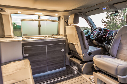 St. Petersburg, Russia - July 22, 2019: Interior of modern Multivan California Ocean (Transporter T6). Kitchen inside the car