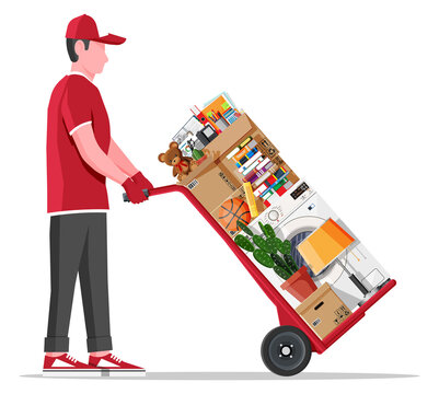 Mover with hand truck and package for transportation. Moving to new house. Family relocated to new home. Paper cardboard boxes with various household thing. Vector illustration in flat style