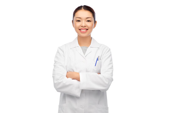medicine, profession and healthcare concept - happy smiling asian female doctor in white coat