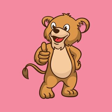 cartoon animal design kids lion thumbs up pose cute mascot logo