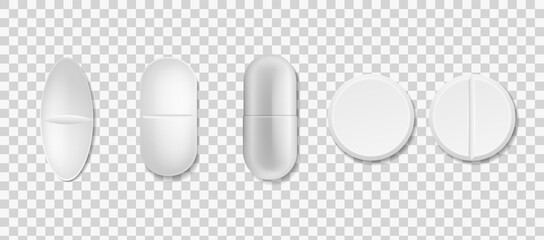 Tablets set. Vector realistic white medical pill and capsule various forms front view, antibiotic, painkiller and vitamins pharmacy collection, vector on transparent background drugs