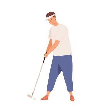 Professional male golfer with golf club. Smiling young man playing golf with niblick. Flat vector cartoon illustration of practicing sportsman isolated on white background