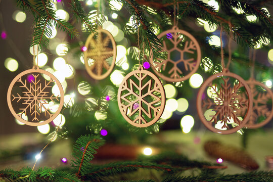 Christmas and zero waste, eco friendly decoration Christmas holiday concept
