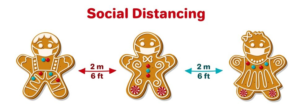 Christmas Gingerbread Man in Facial Mask. Social distancing poster with text to self quarantine and protect your health. New Year's pandemic coronavirus