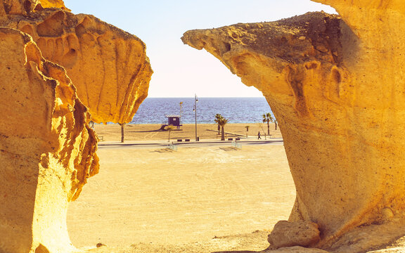 Rock formations in Bolnuevo, Spain