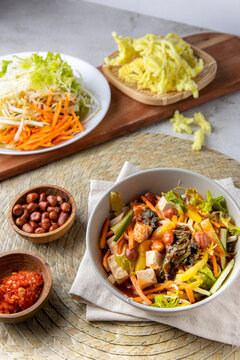 Asinan Bogor. Indonesia traditional salad from Bogor West Java. Tropical fruits pickled in a sweet, spicy, sour, and salty brine. Javanese Indonesian food