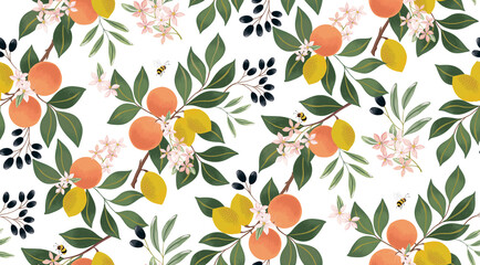 Wall Mural - Vector illustration of seamless floral pattern with fruits. Design for cards, party invitation, Print, Frame Clip Art and Business Advertisement and Promotion