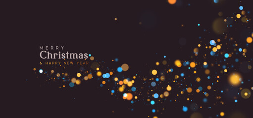 Background of bright glow bokeh. Christmas golden lights. Blur motion Night bright colorful sparkles