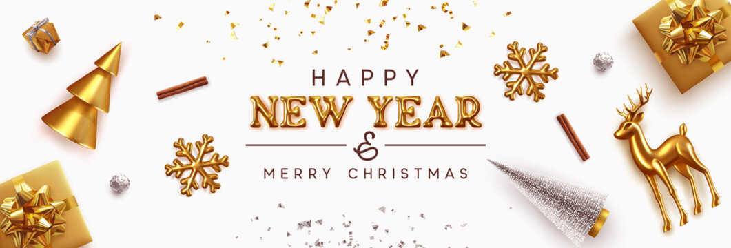 Happy New Year and Merry Christmas banner. Background Xmas design of realistic Gold decorative metal holiday objects. Festive decorations. Horizontal poster, greeting card, headers website. 3d vector