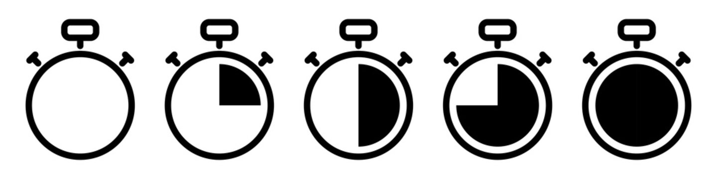 timer, stopwatch vector icon. set of black kitchen timer icons on white background. countdown stock illustration. stop watch symbol clock element
