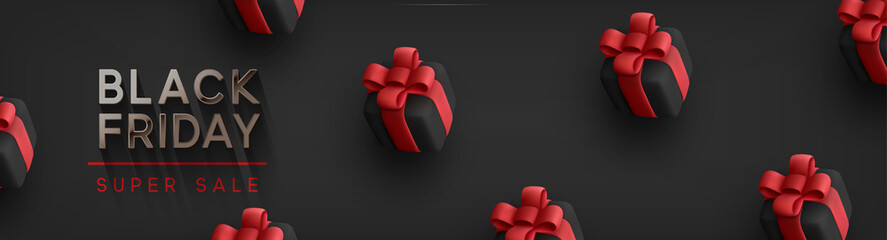 Black Friday Super Sale. Realistic black gifts boxes. Pattern with gift box with red bow. Dark background silver text lettering. Horizontal banner, poster, header website. vector illustration Fototapete