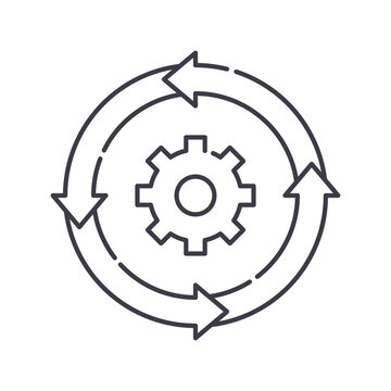 Iteration cycle icon, linear isolated illustration, thin line vector, web design sign, outline concept symbol with editable stroke on white background.