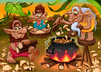 A group of gnomes are cooking mushroom soup. Vector fantasy illustration.