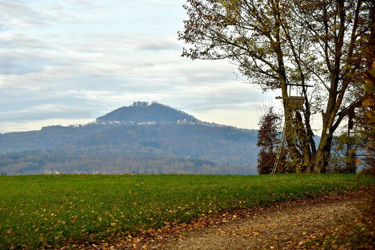 panoramic view to the hill Hohenstaufen with high seat in Germany
