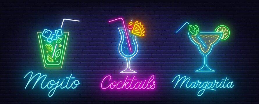 Cocktail Margarita, Blue Hawaiian and Mojito neon sign on brick wall background .