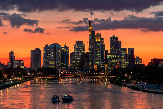 Summer evening sunset view on the city centre skyline of Frankfurt, the financial center of the Germany.