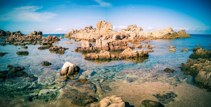 Rock formations at Cala Canneddi, Sardinia, Mediterranean Sea