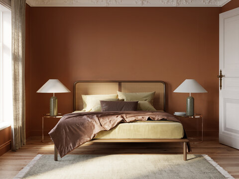 3d rendering of a calm relaxing elegant bedroom with dark red wall and nightstands with modern table lamps