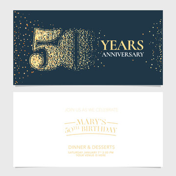 50 years anniversary vector logo, icon. Graphic design element with number for 50th anniversary