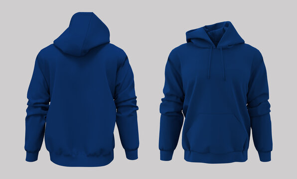 Blank hooded sweatshirt mockup for print, isolated on white background, 3d rendering, 3d illustration