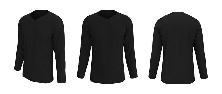 men's long sleeve t-shirt mockup in front, side and back views, design presentation for print, 3d illustration, 3d rendering
