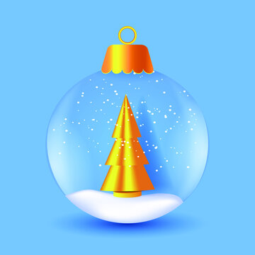 Christmas glass snow globe with golden tree. Winter holiday vector illustration.
