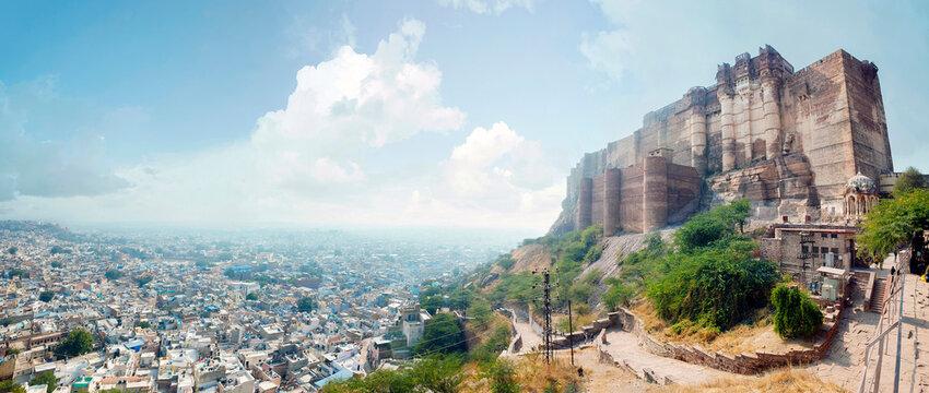 Famous indian tourist landmark - Panorama of Mehrangarh Fort , Jodhpur, Rajasthan, India