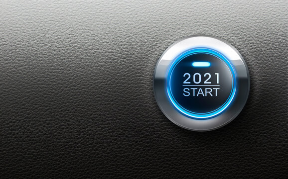 Start 2021 button with blue light - 3D illustration