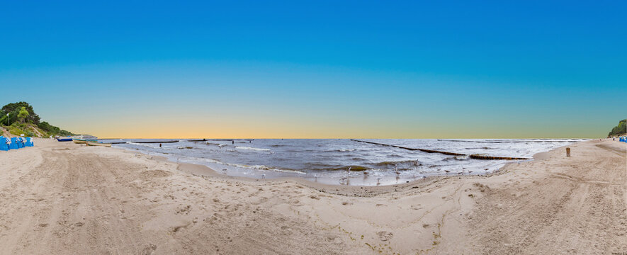 scenic empty beach in autumn at the Island of Usedom,