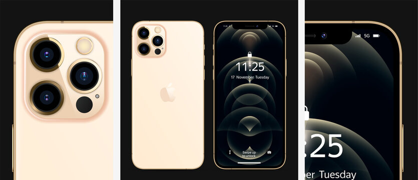 MOSCOW, RUSSIA - NOVEMBER 17, 2020: New iPhone 12 pro / pro max Gold color by Apple Inc. Mock-up, screen phone with ios 14 and back side. Detailed rendering. Realistic vector illustration EPS10